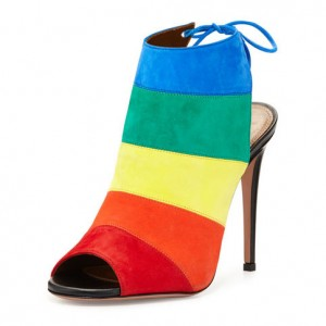 Rainbow Slingback Summer Boots Peep Toe Suede 5 Inches Stiletto Heels Ankle Booties