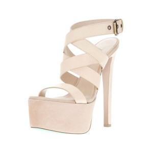 Women's Lillian White Paltform High Heels Strappy Sandals for Cocktail Party