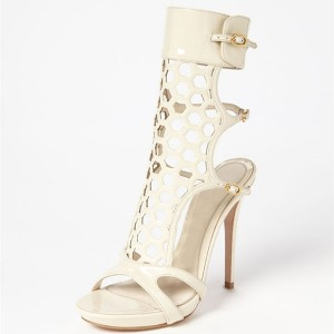 Ivory Heels Hollow out Mesh Open Toe Slingback Sandals