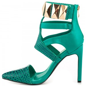 Women's Green Strappy with Metal Hollow Out Ankle Strap Sandals