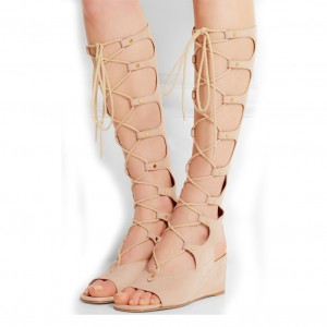 Beige Gladiator Heels Lace up Strappy Suede Wedge Heels Sandals