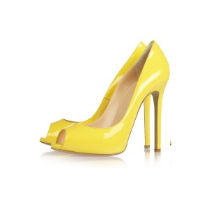Yellow Peep Toe Heels Patent Leather Pumps Stiletto Heels