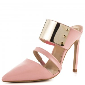 Pink 3 Inch Heels Mules Closed Toe Sandals with Metal Embellishement