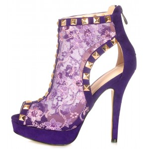 Viola Purple Rivets Boots