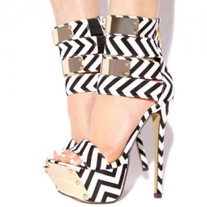 Black and White Heels Platform Sandals Stripes Stiletto Heel Shoes