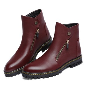 Burgundy Vintage Boots Comfortable Flat Ankle Boots Casual Shoes