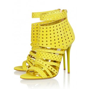 Yellow Sandals 4 Inch Heels Stiletto Heels Hollow-out Summer Sandals