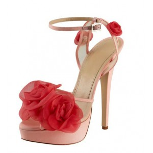 Women's  Pink and Red Floral Peep Toe Ankle Strap Sandals