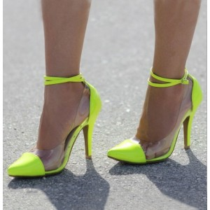 Neon Pointy Toe Clear Heels Ankle Strap Stiletto Heel Pumps
