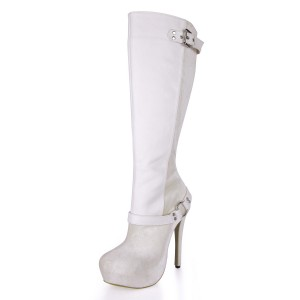 Women's White Buckle Platform Boots Stiletto Heels Boots