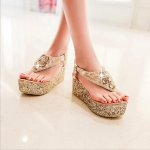 Gold Glitter Shoes Rhinestone Platform Thong Sandals US Size 3-15