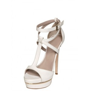 Lillian White T-strap Sandals