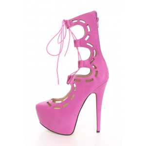 Hot Pink Lace-up Heels Strappy Stilettos Platform Pumps