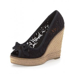 Black Espadrille Wedges Peep Toe Lace Heels Platform Pumps