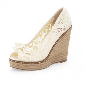 Ivory Wedge Heels Peep Toe Lace Pumps with Bow