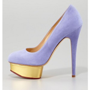 Women's Viola Purple Low-cut Uppers Stiletto Pumps  Platform Heels