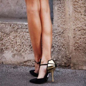 Black and Gold Closed Toe Sandals Ankle Strap Stiletto Heels