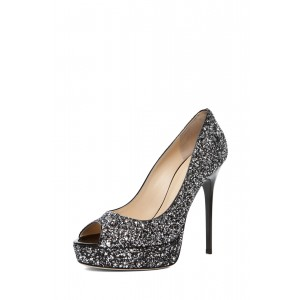 Women's Black Peep Toe Sequined Pumps Stiletto Heels Shoes