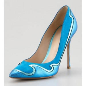 Light Blue Ripple Pointed Toe Low-cut Uppers Stiletto Heels Pumps