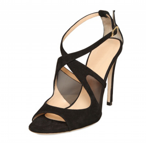 Leila Black Mesh Crossed-Over Strappy Stiletto Heel Sandals