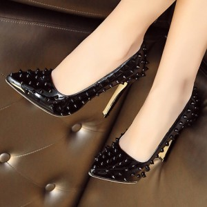 Women's Black Pointed Toe Rivets Low-cut Uppers Stiletto Heels Shoes
