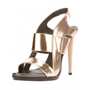 Silver Mirror Leather Sling Back Strappy Stiletto Heel Sandals