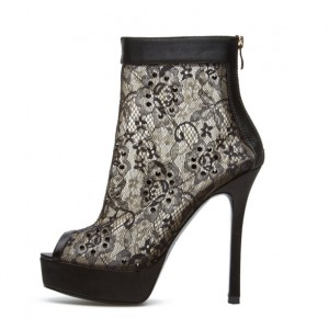 Women's Black Fashion Boots Platform Lace Stiletto Heel Ankle Boots