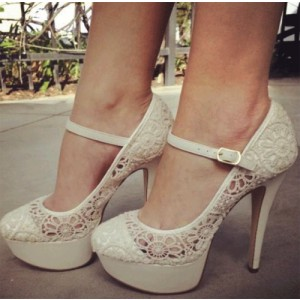 Ivory Lace Heel Mary Jane Pumps with Platform