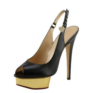 Black and Gold Platform Slingback Pumps Peep Toe Stiletto Heels Shoes