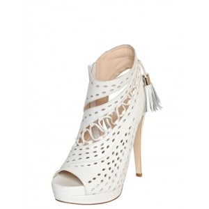Lillian White Fringe Hollow-out Stiletto Heel Ankle Boots