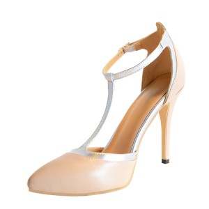 Nude Almond Toe Silver T-strap Stiletto Heel Pumps