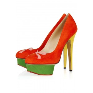 Coral Red Bow Almond Toe Platform Low-cut Uppers Stiletto Heel Pumps