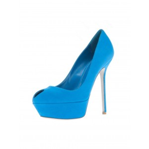 Cobalt Blue Shoes Suede Stiletto Heel Platform Pumps for Office Ladies