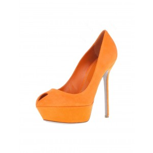 Zoe Orange Low-cut Uppers Key Hole Platform Stiletto Heel Pumps