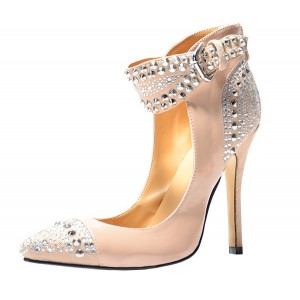 Nude Rhinestone Ankle Strap Pointed Toe Stiletto Heel Pumps