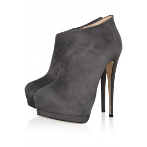 Dark Grey Elegant Round Toe Side Zipper Platform Stiletto Heel Ankle Boots
