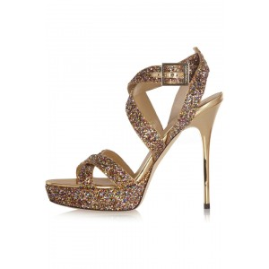 Women's Golden Glitter Shoes Open Toe Strappy Twisted Stiletto Heel Sandals
