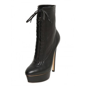 Leila Black Leather Platform Almond Toe Lace-up Stiletto Heel Ankle Boots
