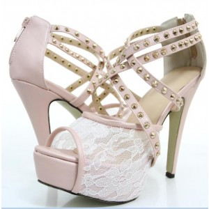 Women's Light Pink Lace Crossed-Over Peep Toe Platform Stiletto Heel Strappy Sandals