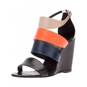 Women's Multicolor Open toe Ankle Strap Strappy Wedge Sandals