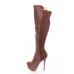 Women's  Brown Almond Toe Platform Stiletto Heels Knee-high Boots