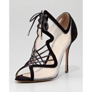 Lillian White Peep Toe Lace-up Nets Stiletto Heel Sandals