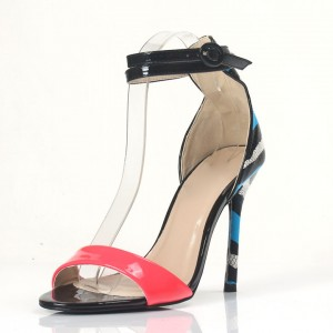 Hot Pink Ankle Strap Sandals Blue Python Open Toe Stiletto Heels