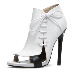 Lillian White Side Lace-up Open Toe Stiletto Heel Ankle Boots 4 Inch Heels