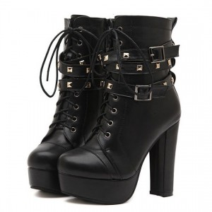 Women's Black Lace Up Rivets Buckle Chunky Heel Boots