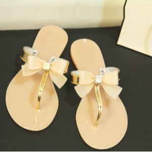 Women's Golden Open Toe Bow Slipper  Comfortable Flats Sandals