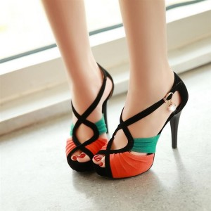 Women's Orange and Green Stitching Color Ankle Strap Stiletto Heel 4 Inch Heels Sandals