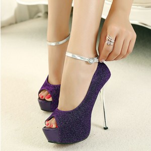 Dark Purple Sparkly Heels Ankle Strap Peep Toe High Heel Shoes with Platform