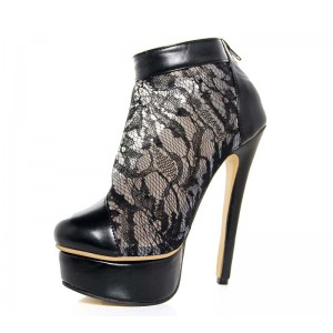 Women's Black Fashion Boots Lace Platform Stiletto Heel Ankle Boots