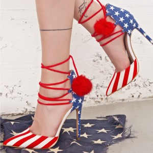 Stars and Stripes Pom Pom Heels Strappy Closed Toe Pumps